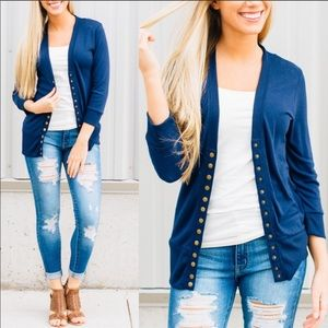 Jackets & Blazers - Favorite snap closure cardigan in Sapphire blue